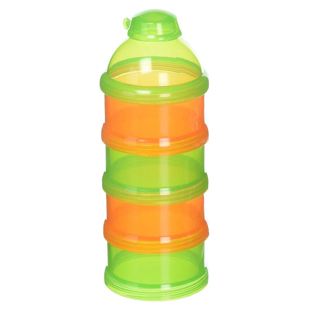 Baby Formula Divider Pak N Stak Formula Dispenser Orange/Green Easy to Pour Spout Four Separate Compartments BPA and Phthalate Free Convenient Way to Take Pre-Measured Powder Formula Snacks on The Go by Indipartex