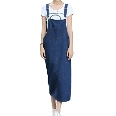 f8727921665 Fangcheng Women s Long Maxi Dress Denim Overall Suspender Dress with Pockets  Casual Adjustable Tower Buckle Ladies Slim Slit Jean Strap Dress  Amazon.co. uk  ...
