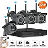 SW SWINWAY 4Channel 720P Wireless Security IP Camera System Outdoor Night Vision Wifi 4CH Nvr Kit 4pcs 1.0MP Wifi Surveillance Kits Support Smartphone PC Remote View For Home Business Review