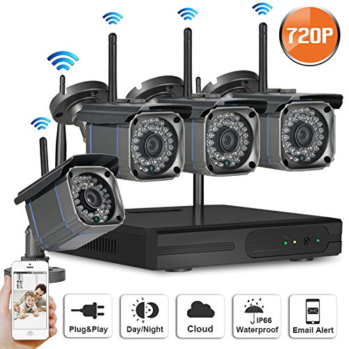 SW SWINWAY 4Channel 720P Wireless Security IP Camera System Outdoor Night Vision Wifi 4CH Nvr Kit 4pcs 1.0MP Wifi Surveillance Kits Support Smartphone PC Remote View For Home Business