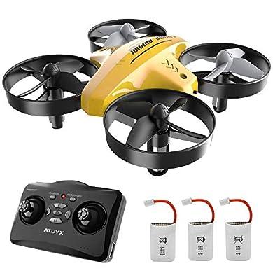 ATOYX 66C RC Mini Drone con Mando a Distancia Función de Suspensión Altitud Modo Headless 3 Velocidades 3D Flip Protecciones 360° para Niños y Principiantes (Amarillo) a buen precio