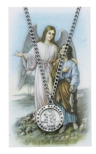 Round St. Raphael the Archangel Medal with Prayer Card (Pendant Raphael Medal)