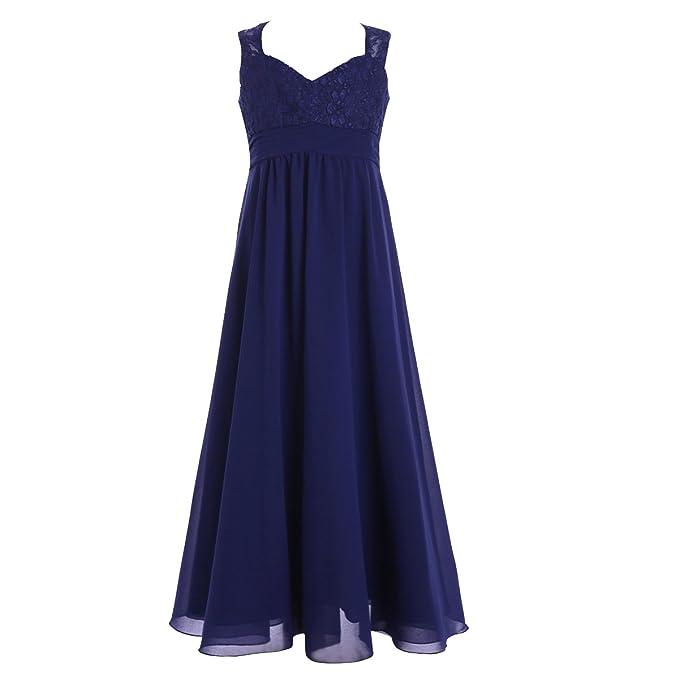 iEFiEL Vestido de Princesa Boda Fiesta Ceremonia Niña Vestido Largo de Encaje Floreado para Niña Azul