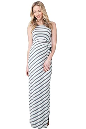 ab32d5a0b8 Ripe Maternity Striped Side Tie Maxi Dress - Seafoam/Steel - Large at  Amazon Women's Clothing store: