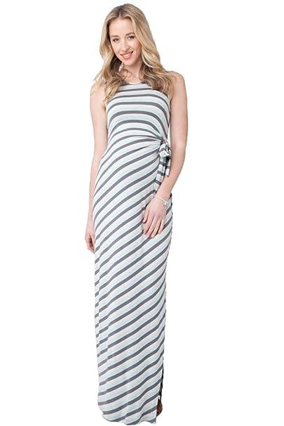 bb7c06207ca3e Ripe Maternity Striped Side Tie Maxi Dress - Seafoam/Steel - Large ...