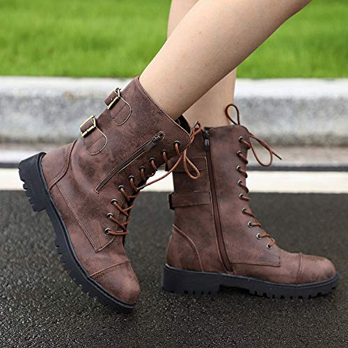 Ankle IZHH Vintage Brown Mid Unisex Outdoor Boots Adults Calf Shoes Shoes Martin Boots Basic Boots Zipper Cool Autumn Roman Shoelace Boots qI6wI1rF