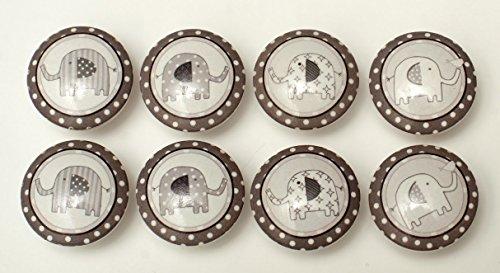 Set of 8 Taylor Elephant Dresser Drawer Cabinet - Elephant Dresser Knobs