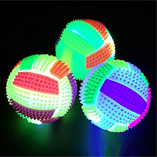 1Pc LED Flashing Color Changing Bouncing Balls Palm Massage Hedgehog Ball Mini Glowing Volleyball Squeeze Toy Pet Catcher Ball (Color Random) - Led Balls Juggling
