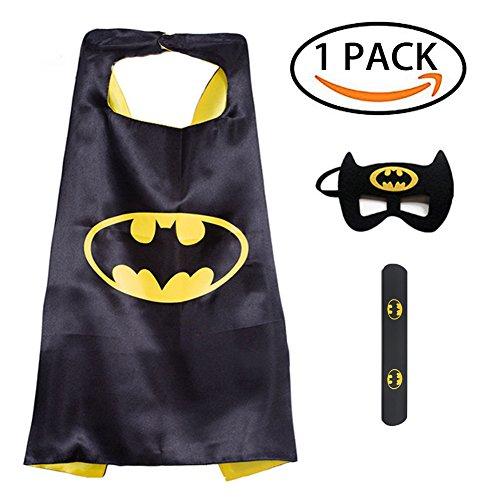 Superhero Dress up Costume, 4 Set Comics Superhero Satin Capes Felt Masks Rubber Slap Bracelet DIY Kids Boys & Girls Cosplay Gift Birthday Party Supplies Favors (B-M) for $<!--$7.99-->