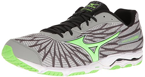 Mizuno Men's Wave Hitogami 4 Running Shoe, Grey/Green, 7 D US