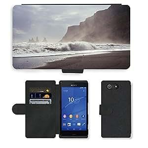 Just Phone Cases PU LEATHER case coque housse smartphone Flip bag Cover protection // M00421740 La resaca de la orilla del mar del // Sony Xperia Z4 E6553