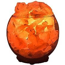 Nomads Himalayan Salt Lamp,Salt Rocks in a Decorative Glass Bowl,Natural Air Purifier and Aromatherapy Salt Lamp (Circle Bowl)