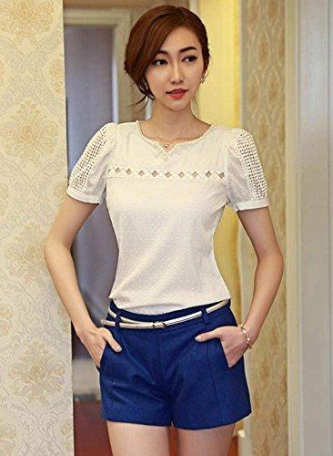 Zeagoo Femme Fille Elégant Col V Mousseline de Soie Shirt Hollow Manche Courte Casual Blouse