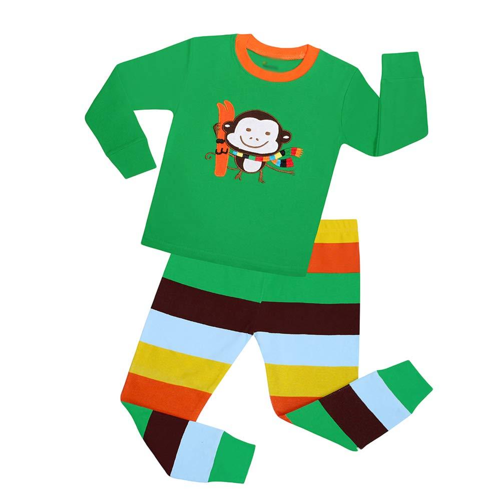 YuanDiann Gar/çon Fille Pyjama V/êtements De Nuit 2 Pi/èces Ensemble Dessin Anim/é Impression Broderie 100/% Coton Enfant Habit Noel Cadeau Tops Shirts /& Pantalon Tenue 2-7 Ans