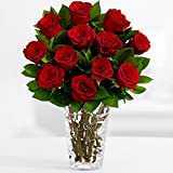 ProFlowers - One Dozen Long Stemmed Red Roses (with FREE glass vase) - Flowers