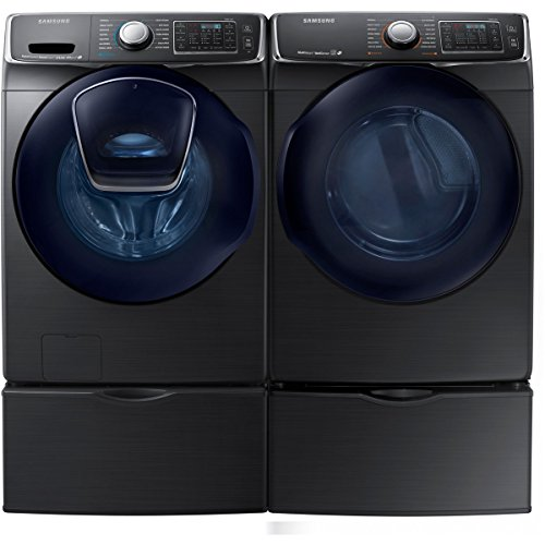 Bundle: Black Stainless Steel Samsung 5 Cu Ft Front Load Washer with Add Wash and 7.5 Cu Ft GAS Dryer Laundry Set With Pedestals WF50K7500AV DV50K7500GV WE357A0V