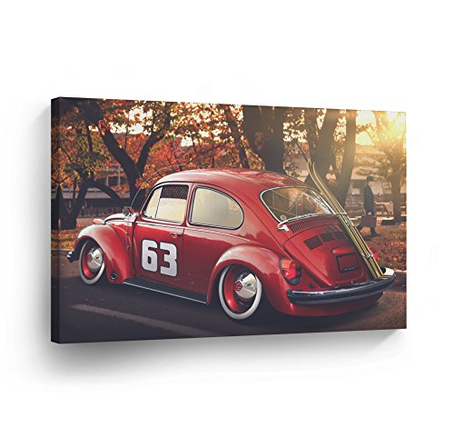 Number 23 Red Volkswagen VW Beetle Bug Sepya Colors CANVAS PRINT Decorative Vintage Rustic Art Modern Wall Decor Artwork Wood Stretcher Bars - Ready to Hang - %100 Handmade in the USA - VBH4