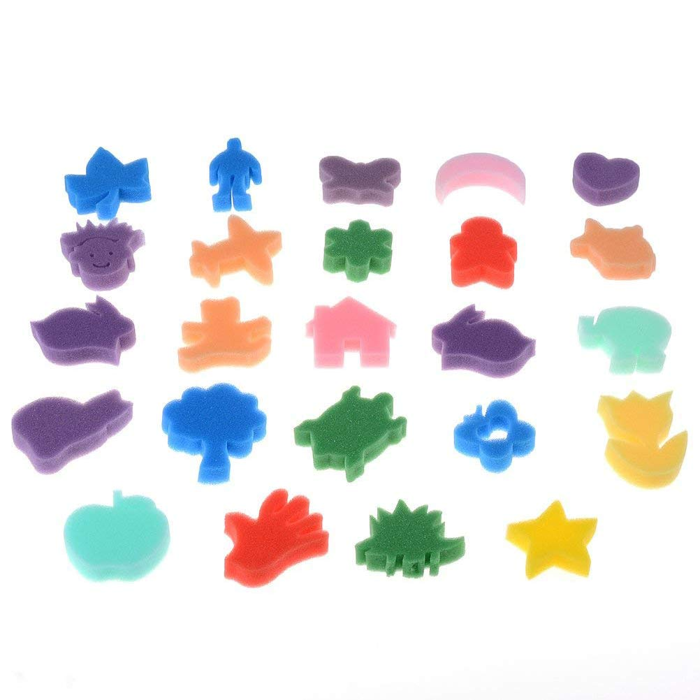 Ioffersuper 24 Pieces Crafting Painting Sponge Shapes Painting Stamps, Assorted Color