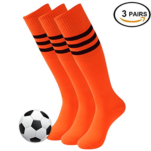 Long Soccer Socks, 3street Adult Youth Triple Stripe Wicking Moisture Athletic Knee-High Football Cycling Running Rugby Baseball Sport Compression Socks for Valentine's Day Gift Orange 3 (Bike Athletic Football)