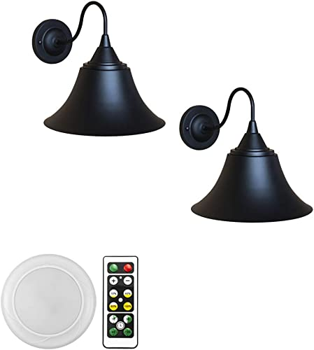 ANYE 2-Pack 55 Lumens Wireless Led Remote Control Battery Run Black Shade Wall Sconce Light Fixture