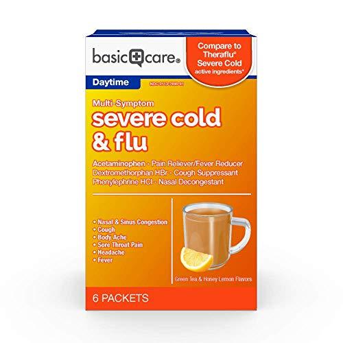 Basic Care Multi-Symptom Severe Cold Powder, Green Tea & Honey Lemon, 6Count