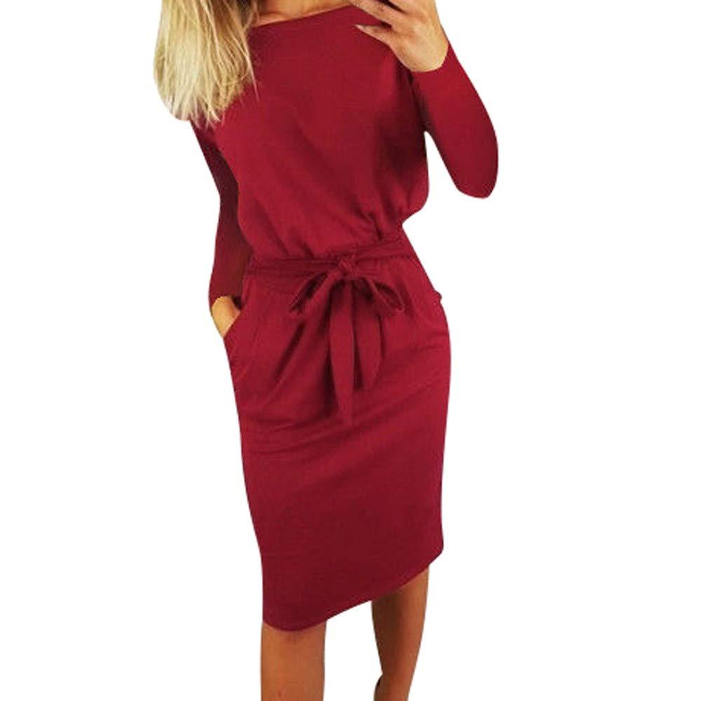 Oliviavan Womens Casual Long Sleeve Dress, Ladies Pocket Ladies Evening Party Mini Dress