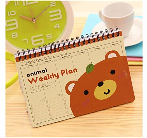 Chris-Wang Cute Animal Spiral Weekly Planner - Monday to Sunday Each Page - 2016 2017 Schedule Personal Goals Organizer Book - To do List - 75 Weeks (Brown Bear)