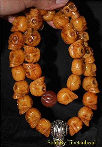 Tibetan Antique Kapala Bone Bracelet Mala Prayer Beads Rosary Worry Skeleton Skull Amulet Buddhist Old Tibet Nepal shri chitipati Shmashana Adhipati Protector Misbaha Komboloi Necklace Tasbih (Skeleton Carving Art)