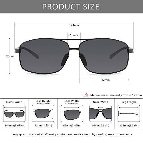 SUNGAIT Ultra Lightweight Rectangular Polarized Sunglasses UV400 Protection 5