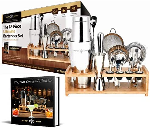 Cocktail Shaker Set by WinterCastle The 18 piece Ultimate Bartender Set Boston Shaker, Jigger, Muddler, Bar Spoon, 3 Strainers, 4 Liquor Pourers with Caps, Ice Tong, Bamboo Stand, FREE Recipe EBook