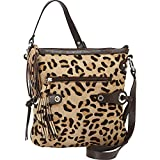 Scully Leopard Print Crossbody with Fringe (Brown)