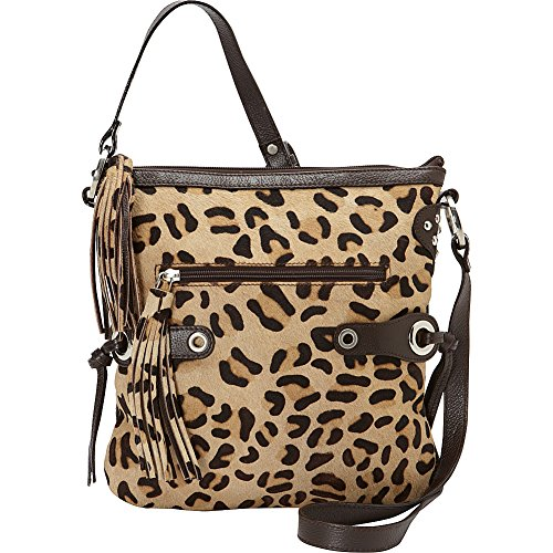 Scully Leopard Print Crossbody with Fringe (Brown) by Scully