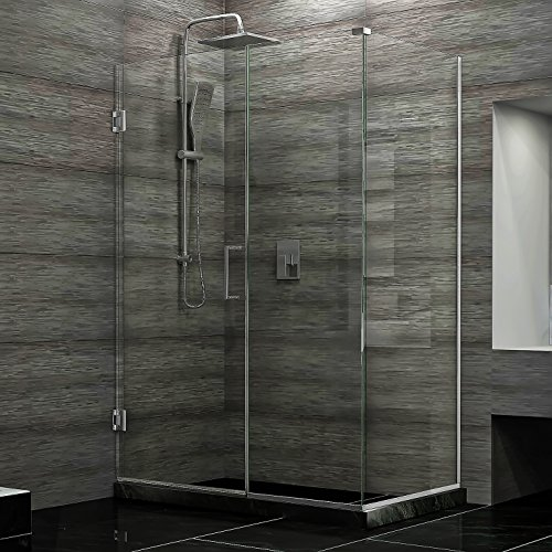 DreamLine Unidoor Plus 34 3/8 in. D x 35 in. W, Frameless Hinged Shower Enclosure, 3/8'' Glass, Chrome Finish by DreamLine (Image #2)