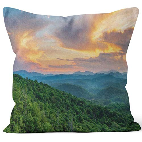 Nine City Summer Sunset Off The Blue Ridge Parkway at The Flat Rock Overlook Throw Pillow Cushion Cover,HD Printing Decorative Square Accent Pillow Case,20