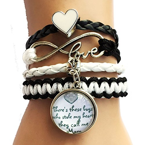 Theres These Boys Who Stole My Heart She Calls Me Mom Pendant Family Paracord Bracelet-Son Gives Mothers Gift