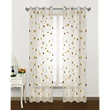 Gold Star Print curtains for Nursery Kids Bedroom Cute Twinkle Stars with White Trasparent Voile Window Drapes for Living Room Grommet Top 2 Panels 54 W by 63 L inch Home Decorative Draperies by GD