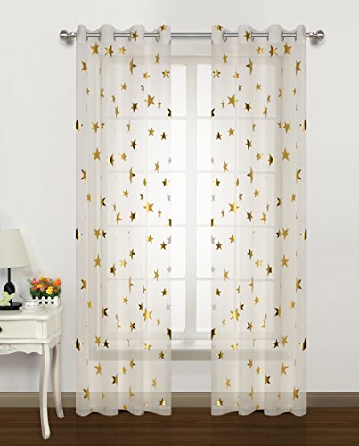 Gold Textured Rim - Gold Star Print curtains for Nursery Kids Bedroom Cute Twinkle Stars with White Trasparent Voile Window Drapes for Living Room Grommet Top 2 Panels 54 W by 63 L inch Home Decorative Draperies by GD