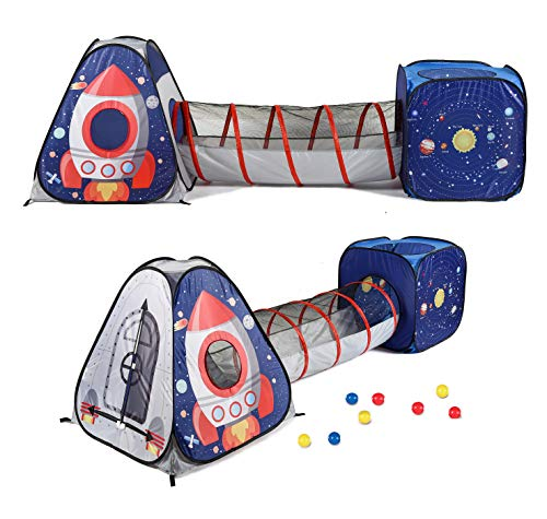 UTEX 3pc Space Astronaut Kids Play Tent, Pop Up Play Tents with Tunnels for Kids, Boys, Girls, Babies and Toddlers, Indoor/Outdoor Playhouse -Stem Inspired Design W/Solar System & Planet