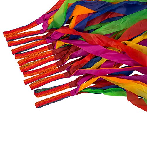 Ribbon Rainbow - 12pcs Hand Held Dance Rainbow Ribbon Toys Random Color - Headband Shoe Streamers Crafts Garland Bracelet Hats Wand Gifts Tassel Curtain Ribbons Gift Kite Colors Circle Decora