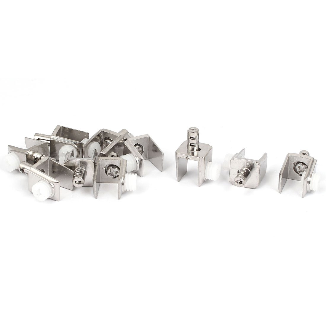 Sourcingmap/® Adjustable 3mm-8mm Thickness Metal Glass Clips Clamps Holder 10 Pcs