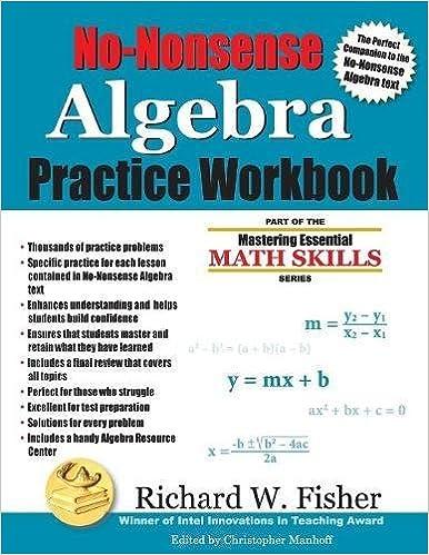 No nonsense algebra practice workbook mastering essential math no nonsense algebra practice workbook mastering essential math skills first edition fandeluxe Choice Image