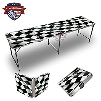 Checkered Flag Theme 8 Foot Folding Tailgate Table