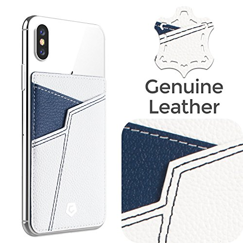Cobble Pro Self Adhesive Genuine Leather Stick On Credit Card Phone Holder Wallet Case, Sports Teams Fans Lover Sleeve Pocket Compatible with iPhone Xs Max/XS/XR/X/8/8 Plus & Smartphone, White Blue
