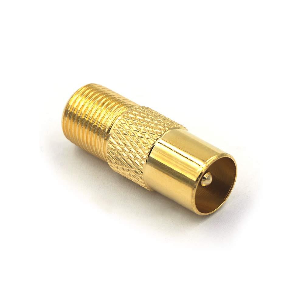 VCE 5 St/ück Koxial Adapter IEC Stecker auf F Buchse Sat Adapter TV Stecker auf F Buchse Kupplung Koaxial Kabel