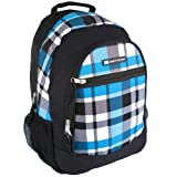 18 inch Blue Plaid Urban Sport Trendy High School Book Bag Middleschool Backpack Multi Compartment Shoulder Bag, Bags Central