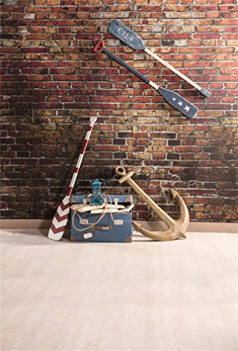 AOFOTO 4x6ft Marine Style Background Nautical Exploration Seafaring Oars Anchor Photography Backdrop Vintage Brick Wall Photo Shoot Studio Props Kid Sailor Adult Artistic Portrait Vinyl Wallpaper