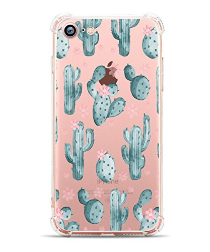 Cute iPhone 7 Case Cactus iPhone 8 Cover Case Hepix Tropical Cacti Clear Design Printed Transparent Case with TPU Bumper Protective Case Cover for iPhone 7 / iPhone 8