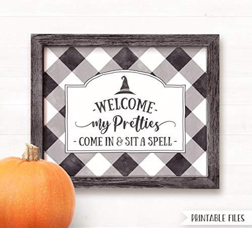 Waaa Printable Halloween Sign Halloween Decor Welcome My Pretties Sign Witch Sign Halloween Decorations Farmhouse Halloween Sign Buffalo
