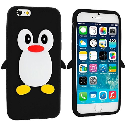 iPhone 6 Plus Silicone case, Anya 3D Cartoon Animal Penguin Soft Silicone Rubber Cool Fun Cute Fashion Hot Case for Apple iPhone 6 Plus/6S Plus for Guys Men Girls Teens Kids Women Black
