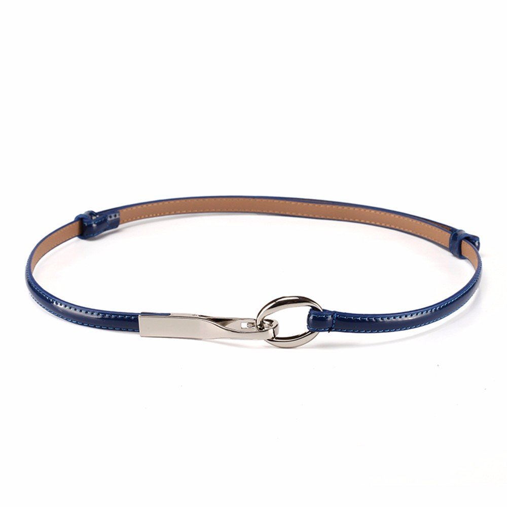 SAIBANGZI Ms Women All Seasons Hook Belt Fine Leather Fashion Décor Casual Belt Narrow Girlfriend Present Blue 98Cm